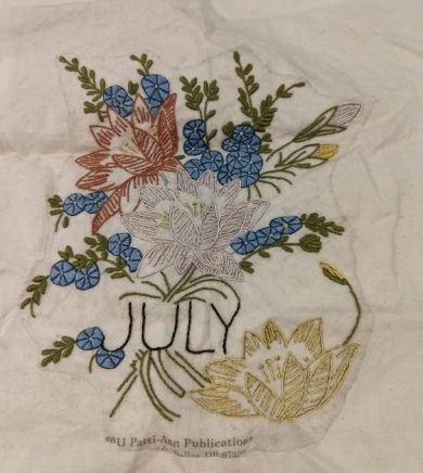 Flower of the Month Embroidery Club - July Block - Water lily