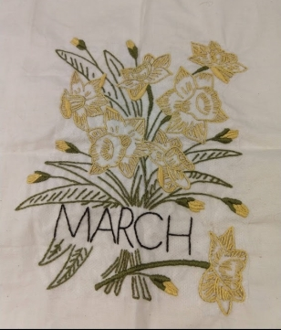 Flower of the Month Embroidery Club March Block Daffadils