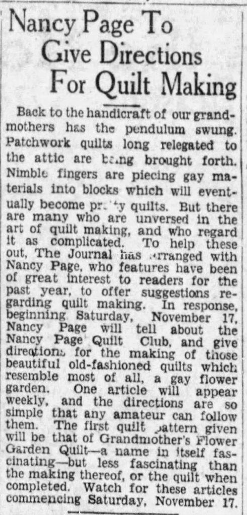 Nancy page quilt club 11/2/1928 -